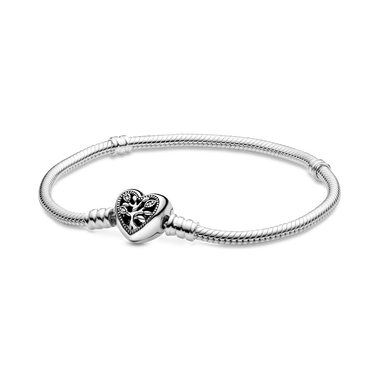 Bracelet Maille Serpent Fermoir Cœur Arbre de Vie Pandora Moments