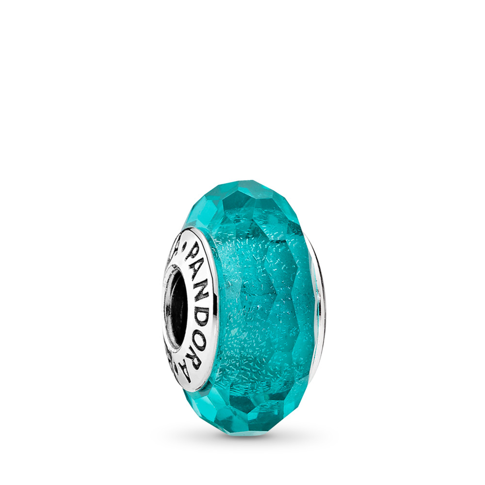 Charm Murano Scintillant Bleu Turquoise
